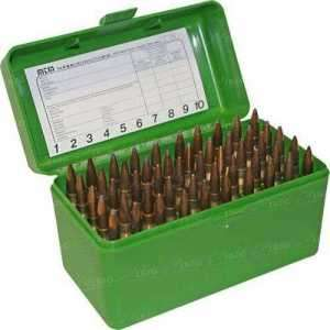 Коробка MTM RL-50 на 50 патронов кал. 22-250 Rem; 243 Win; 6 mm BR Norma;  6,5x55;  30-30 Win; 7,62x39 и 308 Win. Цвет – зеленый.