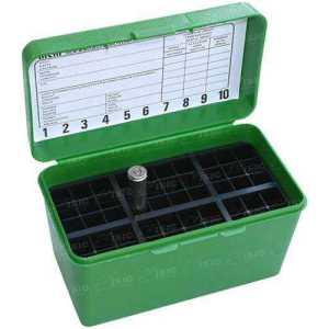Коробка MTM H50-R-MAG на 50 патронов кал. 7mm Rem Mag; 30-30 Win; 300 Win Mag; 300 Wby Mag; 8x68 S; 338 Win Mag; 375 H&H Mag; 416 Rem Mag и 444 Marlin. Цвет – зеленый.