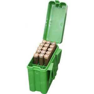 Коробка MTM RM-20 на 20 патронов кал. 22-250 Rem; 243 Win; 6 mm BR Norma;  6,5x55;  30-30 Win; 7,62x39 и 308 Win. Цвет – зеленый