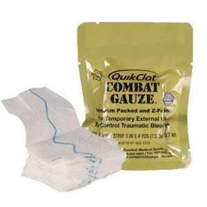 Кровоостанавливающий бинт Quikclot Combat Gauze - современный аналог Celox (Z-сложенное)